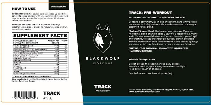 Blackwolf Ingredients Label