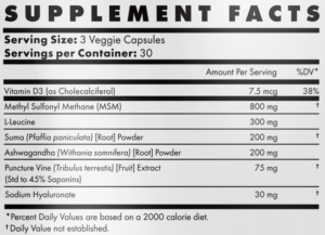 Brutal Force Ingredients Label