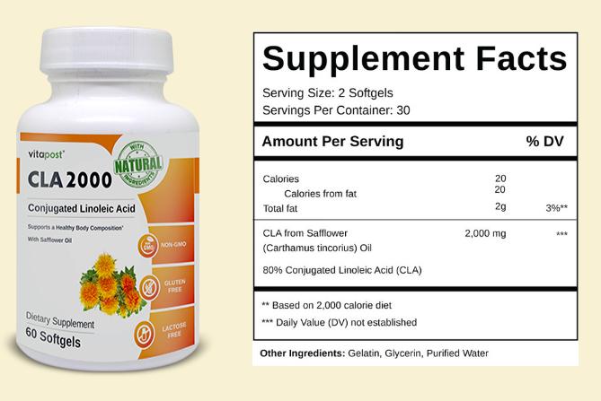 CLA 2000 Ingredients Label