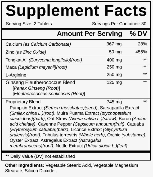 Cilexin Ingredients Label