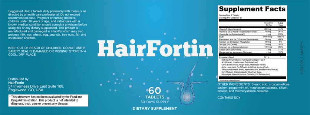 Hairfortin Ingredients Label