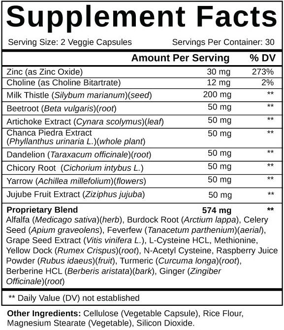 Liver Support Plus Ingredients Label