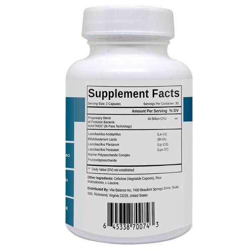 Probiotic 40-Billion Ingredients Label