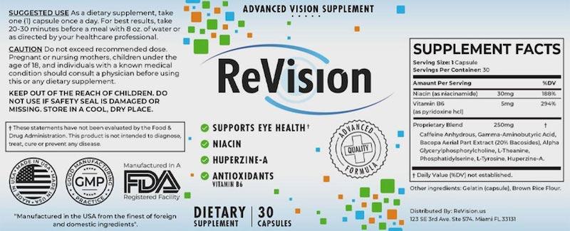 Revision Ingredients Label