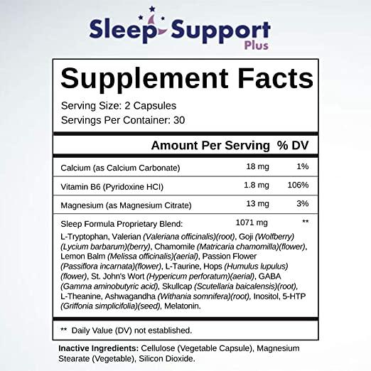 Sleep Support Plus Ingredients Label